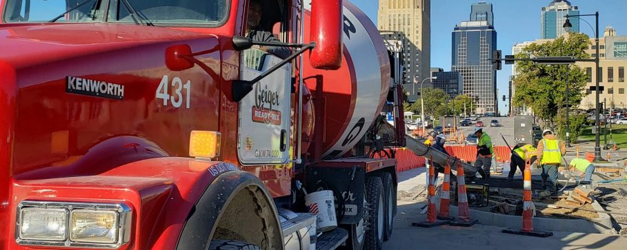A photograph of Geiger's truck pour some road in downtown Kansas City